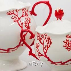 Russian Imperial Lomonosov Porcelain Coral Tea Set Service 20 pc Authentic