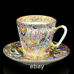 Russian Imperial Lomonosov Porcelain Cup and Saucer Gifts of the East Rare Gold