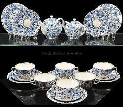 Russian Imperial Lomonosov Porcelain Tea Set Bindweed 6/20 22k Gold Cobalt Blue