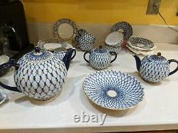 Russian Imperial Lomonosov Porcelain Tea Set Cobalt Net 6/20 22k gold Original