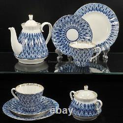 Russian Imperial Lomonosov Porcelain Tea Set Forget Me Not 6/20 service Gold