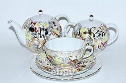 Russian Imperial Lomonosov Porcelain Tea Set Golden daisies chamomile 6/20