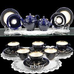 Russian Imperial Lomonosov Porcelain Tea set Night 6/20 22k Gold Russia Cobalt