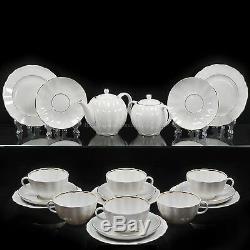 Russian Imperial Lomonosov Porcelain Tea set service Snow White 6/20 person Rare