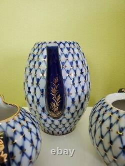 Russian Imperial Lomonosov cobalt blue net porcelain tea set red mark+ blue mark