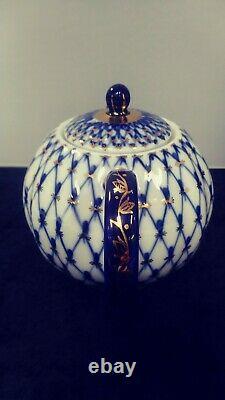 Russian Porcelain Cobalt Net Lomonosov Medium Teapot Gold Tea Set