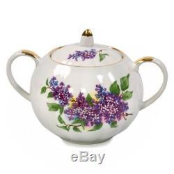 Russian Porcelain Tea set Dulevo 6 pers 15 pc Kuznetsov Porcelain Lilac Flowers