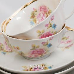 Russian Porcelain Teaset Dulevo 6 pers 15 pc Kuznetsov Porcelain Flowers Cecille