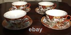 Set of 4 Japanese Eggshell Porcelain Tea Cups and Saucers Signed