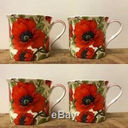 Set of 4 Poppy Design Coffee Tea Fine Bone China Mugs Heath McCabe Poppy Mug Set