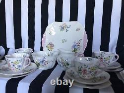 Shelley China Dainty Wild Flowers Tea Set pink edged