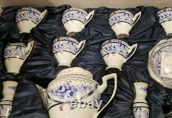 Sorelle Fine Porcelain Service For 6, 25 Pc Blue miessen Tea Set With Candlesti