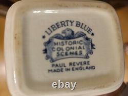 Staffordshire England Liberty Blue Tea Pot/Creamer/Sugar Bowl/ 4 Mugs & Saucers