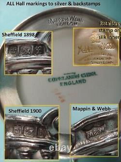 Sterling silver Mappin webb Porcelain Copeland Spode demitasse tea cofee Box set