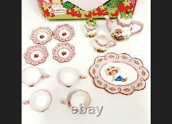 Strawberry Shortcake Porcelain Tea Set 2004 Complete New In Box VTG Great Item