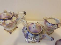 Stunning ANTIQUE R. S PRUSSIA PORCELAIN TEA/Coffee FOR 4 /BREAKFAST SET
