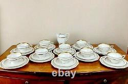 Superb Art Deco 1927 Rosenthal Maria 31 Piece Tea Dessert Set Porcelain & Gold