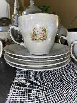 TEA SET PORCELAIN MADONNA RARE VINTAGE MADE IN POLAND USSR. 13 Pieces