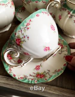 Tea Set Vintage China Cup Teapot Coffee Saucers Set Porcelain 11 Piece Gifts NEW