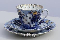 Tea set 6/22 pcs DOMES Cobalt & 22K-gold, Lomonosov Imperial Porcelain, Russia