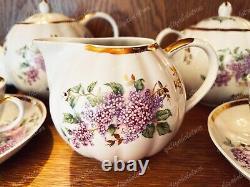 Tea set Dulevo Lilac Porcelain USSR Vintage, very rare 1966, for 6 person