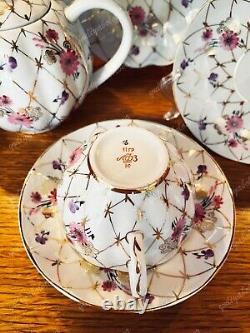 Tea set Golden net Lomonosov Imperial Porcelain Factory LFZ USSR Vintage 1970s