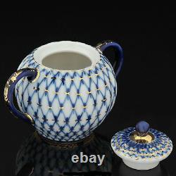 Tea set Tulip Cobalt netting Lomonosov Porcelain IFZ Russia
