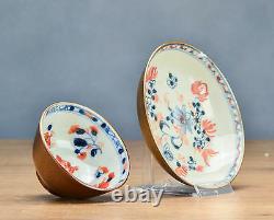 Top Quality Set! 18c. Batavian Peach Familel Rose Tea Cup Saucer Brown Porcelain