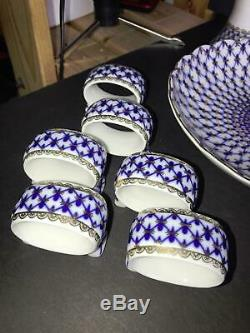 U Russian Imperial Lomonosov Porcelain Coffee Tea Set Cobalt Net 34 Piece