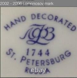 Unique Iconic Russian Imperial Lomonosov Porcelain Cobalt Net Tea Set 22Gold