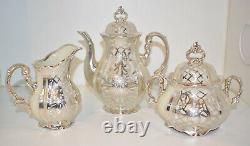 VTG Antique 1930s Hertel Jacob Bavaria Porcelain SILVER OVERLAY Tea Set