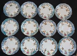 VTG G-P Bavaria Blue Lustre Pink Rose Demitasse Tea Set 29 Pc. Service for 12