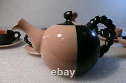Vallauris French Porcelain Pottery Pink And Black Tea Set MID Century Modern