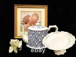 Victorian Teaware Gracie China Fine Porcelain Blue Roosters 12 Pc Tea Set, New