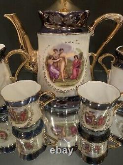 Vintage 11-Piece Blue Gold Demitasse Tea Coffee Set Service Made in Germany