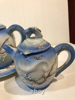 Vintage 1940s Japanese Dragon Ware Moriage Powder Blue Porcelain Tea Coffee Set