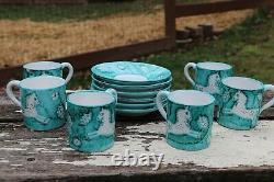 Vintage 1950s Retro Italia Bitossi Hand Painted Guido Gambone Cantagalli Tea Set