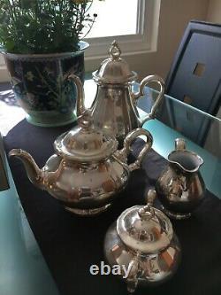 Vintage 1950s Rosenthal Porcelain Germany Silver Plate Clad Coffee & Tea Set
