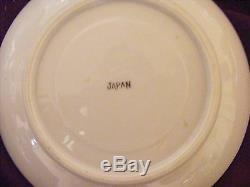 Vintage 1960s Porcelain Japan 16pc Tea Set Moss Rose Designed Trimmed in Gold