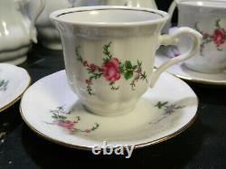 Vintage (22) Piece Walbrzych Demitasse Porcelain Floral Tea Set Poland Excellent