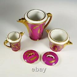 Vintage Art Deco French Porcelain 4pc Tea Set, LJ & Cie, Pink & Gold Teapot