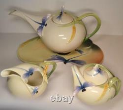 Vintage Art Nouveau Franz Dragonfly Porcelain Tea Set Signed by Jen Woo