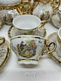 Vintage BAVARIA German Porcelain TEA SET 26 Pc Gold Music Scene Guitar Victorian