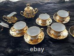 Vintage Bavaria Gold Demitasse Tea Espresso Coffee Set- Serves 6