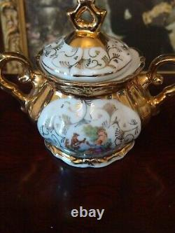 Vintage Bavaria Gold Gilded Iridescent Porcelain Demitasse Tea Set 27 Pieces