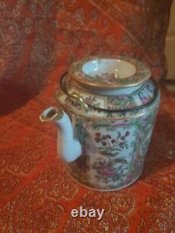 Vintage Chinese Porcelain Travel Picnic Tea Set in Woven Basket 1860 1899