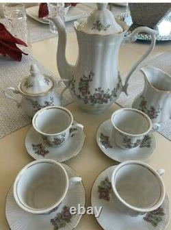 Vintage Floral Walbrzych Rose 11 pc Set Bone China Porcelain Poland, Tea, Coffee