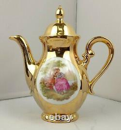 Vintage German Bavaria Gold Plated Fragonard Porcelain Coffee/Tea Set, 1960's