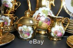 Vintage German Bavaria Porcelain 22 k GOLD Demitasse Tea 25 pc SET LOVE STORY