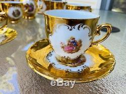 Vintage German Bavaria Porcelain GOLD Demitasse Tea 18 pc SET teapot creamer